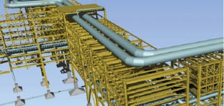 Figure 4.  This sketch depicts a very high pipe rack to support the main flare header