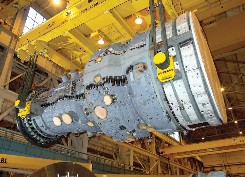 FIGURE 3.  The modern, horizontally split gas turbine casing shown here is an example of a large and modern gas turbine. Today's advanced turbines are sophisticated and complex systems that allow for overall efficiencies above 50% (Photo used with permission from Siemens)