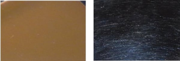 FIGURE 3.  Figure 3a (left): A stainless steel surface viewed under diffused light appears pristine. Figure 3b (right): By contrast, the same stainless steel surface, viewed under undiffused light, reveals surface imperfections that may or may not be significant