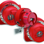 FIGURE 2.  Flame detectors, such as those shown here, implement ultraviolet and infrared detection technologies