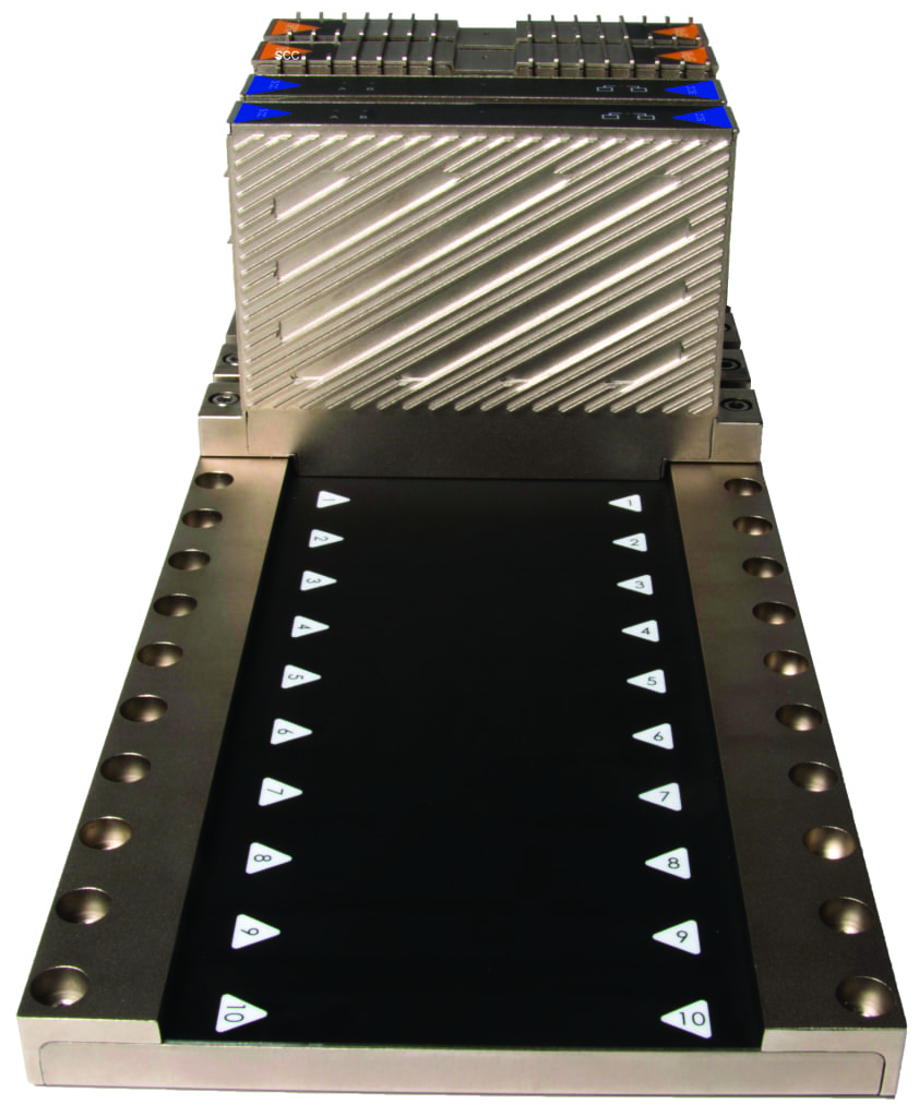 Figure 4.  Bedrock Automation's industrial control system replaces pins with an electromagnetic backplane (shown here), microcontrollers that are secured with encrypted keys and TRNG embedded in all system modules including the controller, power supply and I/O
