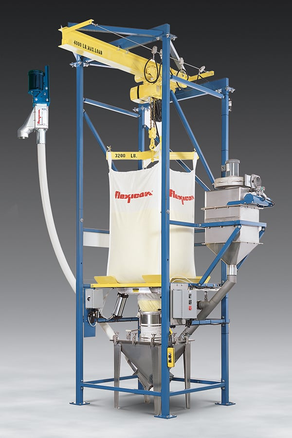 Figure 3.  Flexicon's Bulk-Out bulk bag dischargers are available with several accessories designed to increase efficiency and deal with difficult-to-handle materials, including the Spout-Lock clamp ring and Tele-Tube telescoping tube Flexicon