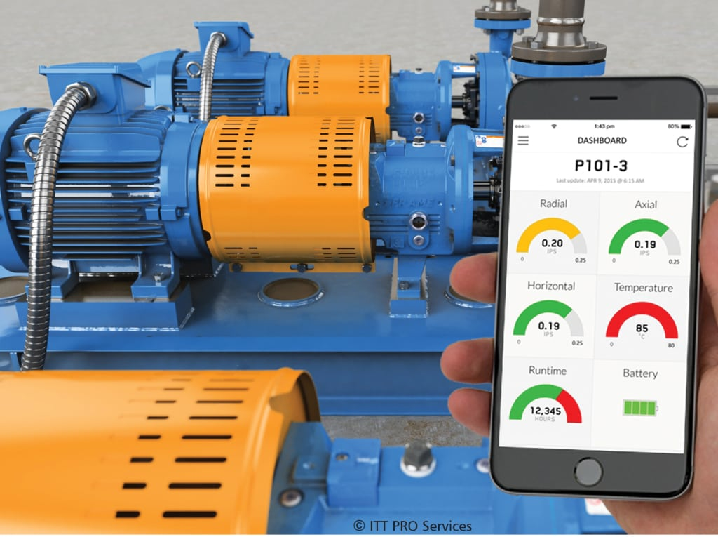 Figure 4. ITT Industrial Process's i-Alert2 equipment health monitor, a Bluetooth smart device, tracks vibration, temperature and run-time hours, trends information and has the ability to diagnose machine faults with vibration and other analysis tools and can send alarms if equipment is outside normal operating conditions ITT Industrial Process