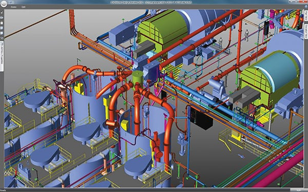 FIGURE 3. The output of a typical 3-D plant layout model is shown here. This model of a solids-handling facility was produced using CADWorx from Intergraph