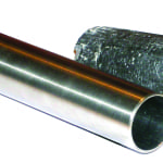 FIGURE 4. A high-chromium alloy austenitic stainless steel tube (left) pictured alongside standard graphite tube (right).