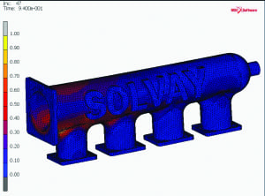 Figure 3.  Simulations helped Solvay ensure that a 3D-printed part met specifications for an engine project