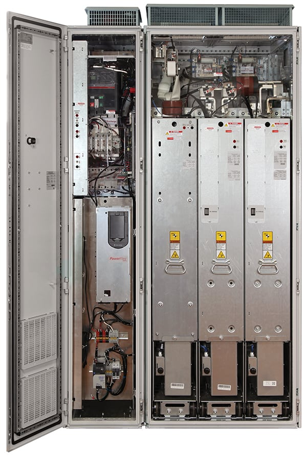 Figure 4.  PowerFlex 755T drives provide harmonic mitigation, regeneration and common bus solutions to reduce energy costs, add flexibility and increase productivity. The drives feature predictive diagnostics and maintenance settings that monitor drive and motor operating conditions to help analyze system health Rockwell Automation