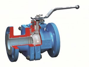 FIGURE 6.  This ball valve uses quarter-turn rotary action to open and close, rather than multiturn linear force Flowserve