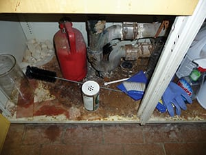 FIGURE 8.  Shown here is an example of a spill that can easily leak through the unsealed hole around the drain beside it