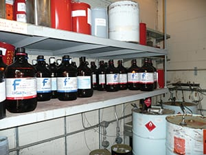 FIGURE 9.  A risk assessment of this area would need to address the consequences of a smaller spill leading to a larger conflagration. While appropriately electrically classified to minimize the potential for ignition sources, the addition of a spill containment system on each shelf might significantly lower the consequences of any potential spill