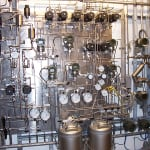 FIGURE 4.  This sampling system for an analyzer installed in a petroleum refinery provides an idea of the complexity of measuring the critical attributes of gasoline