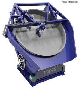 Figure 1.  This disk pelletizer is an example of a tumble-growth wet agglomaration technology, in which fine particles are wetted with a liquid, usually water