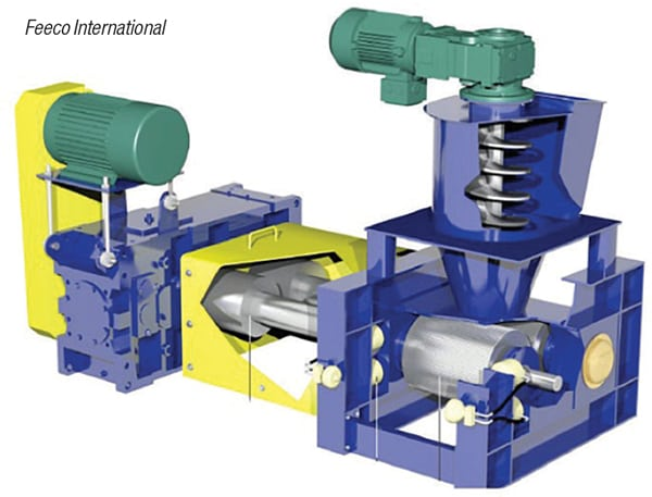 Figure 6.  Roll compactors, like the one shown here, are examples of pressure agglomeration equipment