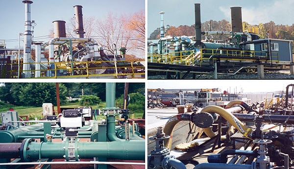 FIGURE 1. These steam-generating thermal oxidizers with waste-heat boilers represent an example of an enclosed combustion technology being used for emissions control in a degassing system that ultimately generates inert gases