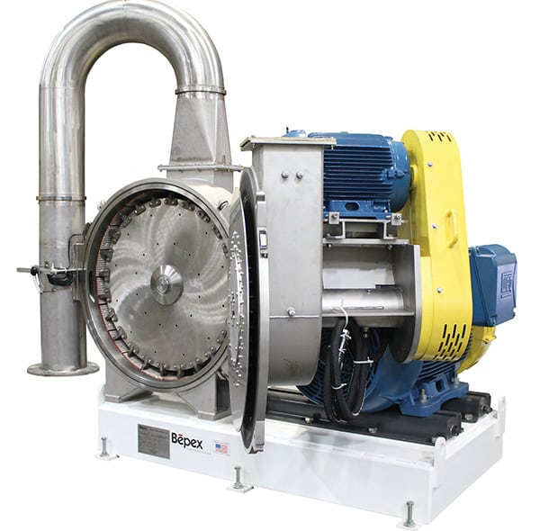 Figure 5. Bepex's Pulvocron Air Swept Pulverizer provides high-speed material impact and internal classification for ultrafine grinding of powders and cakes. It is well suited to applications requiring moderate moisture reduction and fine size reduction in a single step Bepex