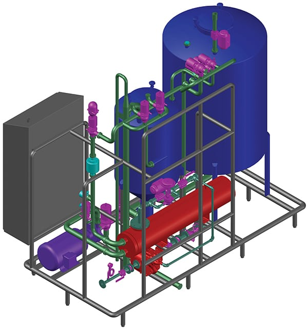 Figure 5.  Shown here is a 3-D model of a single-use clean-in-place (CIP) skid with a tulip recirculation tank