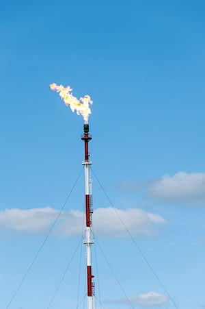 FIGURE 1. Air-assisted flares are a type of elevated flare where air is used to remove the smoke produced from burning  off hydrocarbons