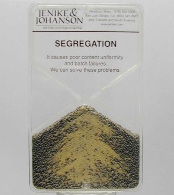 Figure 6.  This model of a non-homogeneous mixture of solids from Jenike & Johanson provides a good visual represenation of segregation during solids-handling processes