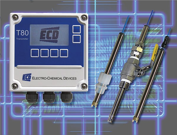 Figure 2.  T80 Universal Transmitters are designed for the continuous measurement of pH, ORP, DO, turbidity and more. The transmitter digitally communicates with an S80 Intelligent Sensor, automatically configuring the transmitter's menus and display screens to the measured parameter  Electro-Chemical Devices