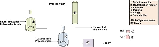 Figure 1. The diagram shows a process for producing sodium lauryl ether sulfate (SLES)
