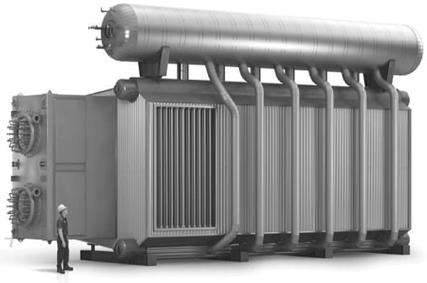 Figure 4. The photograph shows the exterior of an elevated-drum steam generator for large capacity   Cleaver Brooks