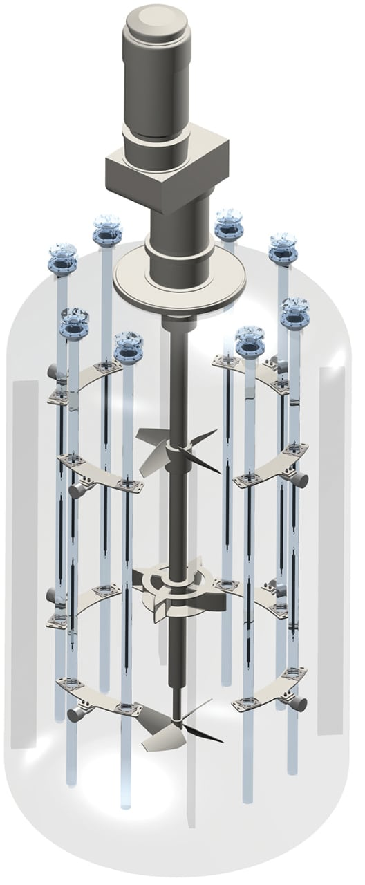 Figure 3.  This stirred-tank photochemical reactor incorporates eight light sources Ekato/Peschl