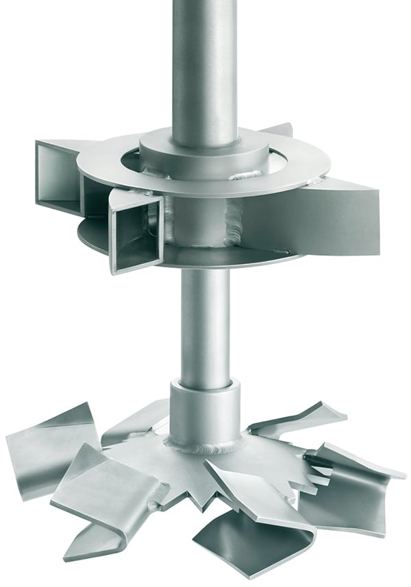 Figure 9. The combined gassing impellers provide maximum mass transfer with the primary disperser (Phasejet) below the self-inducing turbine (Gasjet) Ekato