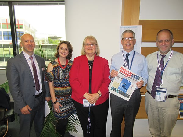The CE editors at Achema (left to right): Scott Jenkins, Mary Page Bailey, Dorothy Lozowski, Charles Butcher and Gerald Ondrey