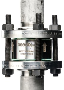Figure 1.  Oseco's Safety Cartridge provides a fully integrated holder disk in one hermetically sealed component designed to eliminate handling of the disc, protect the dome, reduce installation time and prevent leakage  Oseco