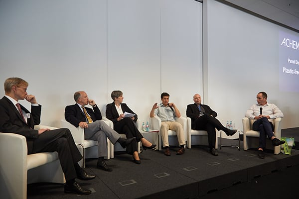 Figure 1. This Achema panel discussion explored the issues associated with plastics waste in Europe Dechema / Jean-Luc Valentin