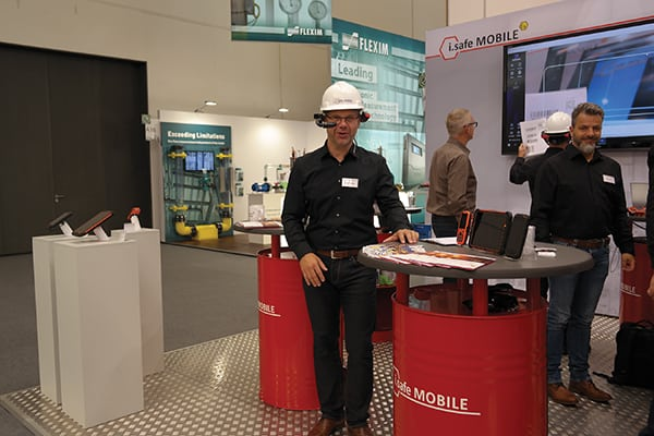 Figure 2. Augmented reality (AR) and virtual reality (VR) technologies, such as the headset displayed by iSafe Mobile, were spread throughout the Achema tradefair Chemical Engineering magazine/ Mary Page Bailey