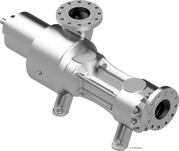 Figure 5.  Using a magnetic coupling, the SLW is a hermetically sealed, twin-screw pump used in the chemical and petrochemical sectors because it is environmentally friendly  ITT Bornemann