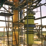 Figure 3.  Glass or glass-lined steel is often the best material of construction for acid recovery plants (except for HF), as seen in this denitration column  De Dietrich Process Systems