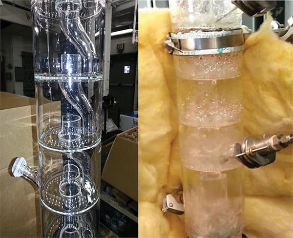Figure 3.  These photos show unjacketed Oldershaw-style column sections with (right) and without (left) liquid and vapor traffic. These column sections were custom-made with a reduced number of holes for high L/V ratios and with side ports for a thermocouple or sample apparatus. Glass allows visual observation of the tray activity (froth, foaming and fouling issues)