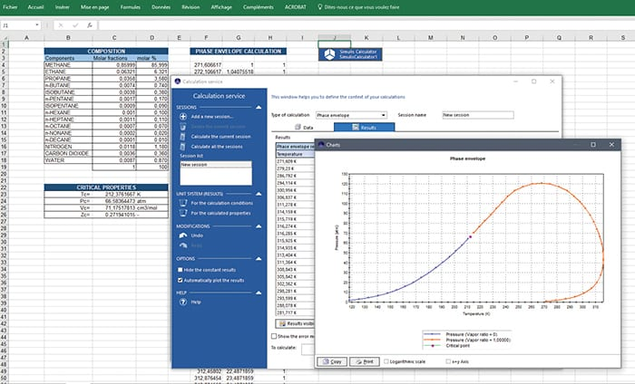 Figure 4.  ProSim's Simulis Thermodynamics provides the thermodynamics knowledge needed for chemical process simulation. It is available as a Microsoft Excel add-in, a toolbox in MatLab or as a software component that can be plugged into any other application/software requiring reliable and accurate thermophysical properties. The figure shows a phase-envelope calculation diagram ProSim